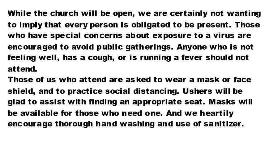 URGENT CHURCH ANNOUNCEMENT!  Requirements for Attendance